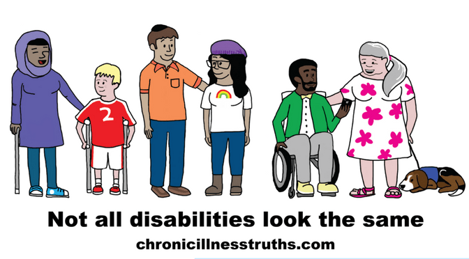 "6 people: woman hijab cane, child crutches, Jewish man, LGBTQ woman, man wheelchair, woman service dog, below is black text ""not all disabilities look the same chronicillnesstruths.com"""