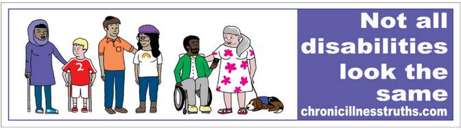 "woman hijab cane, child crutches, Jewish man, LGBTQ woman, man wheelchair, woman service dog, white text purple background ""not all disabilities look the same chronicillnesstruths.com"""