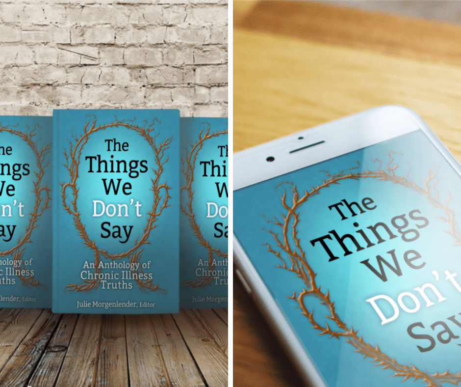 Two images. Left image of book with blue cover and outline of head made of brown thorns with title in front of white brick wall. Right image of same cover on white smartphone sitting on wood table.
